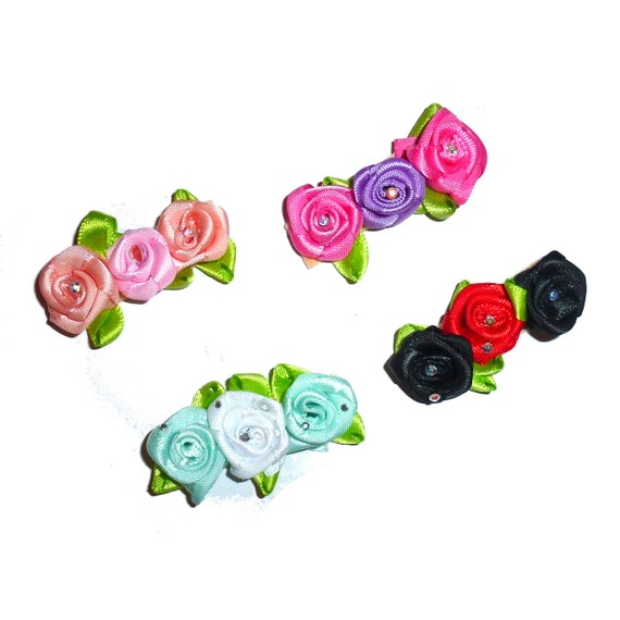 Puppy Bows ~ Dog collar slide bow large dog hair bows roses small pet hair bow collar accessory ~USA seller (dc1)