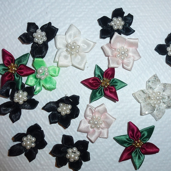Puppy Bows craft items ~  18 assorted black, white, green poinsettia daisy ribbon roses flower appliques pearls
