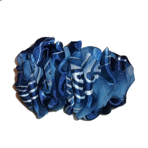 Becky Bows ~  Barrette  chiffon large vintage style scarf Hand crafted over sized  BIG hair blues