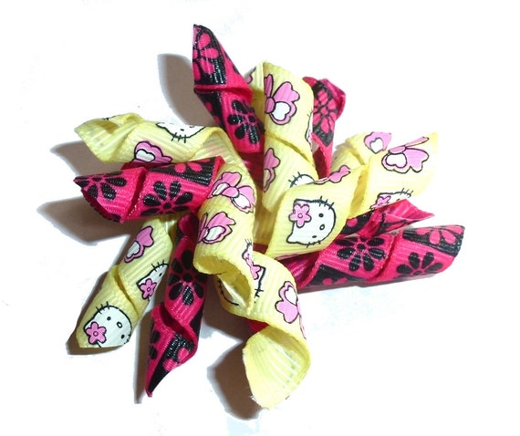 Puppy Bows yellow pink kitty Korker loop  dog bow  pet hair clip barrette or latex bands   (fb120)