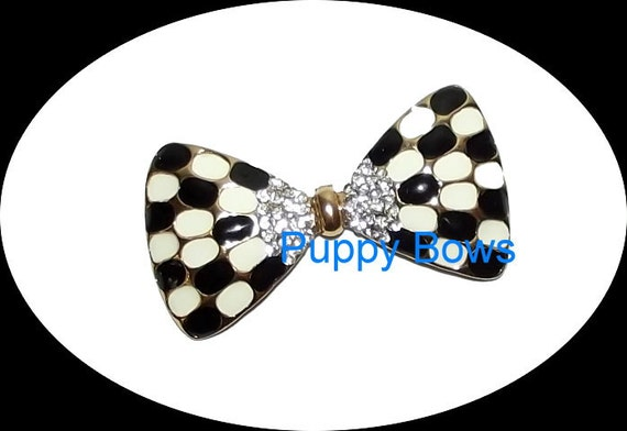 Puppy Bows ~Black white checkered BOWTIE rhinestone dog TIARA barrette pet hair clip ~USA seller