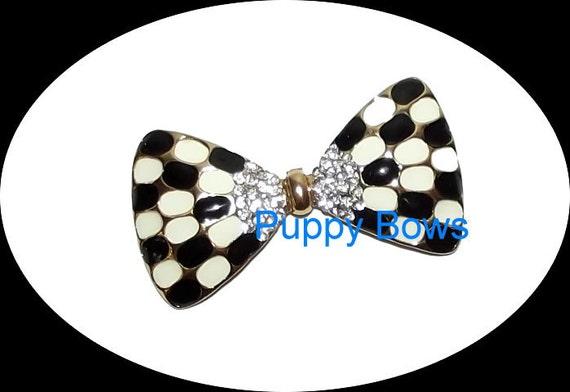 Puppy Bows ~Black white checkered BOWTIE rhinestone dog TIARA barrette pet hair clip ~USA seller