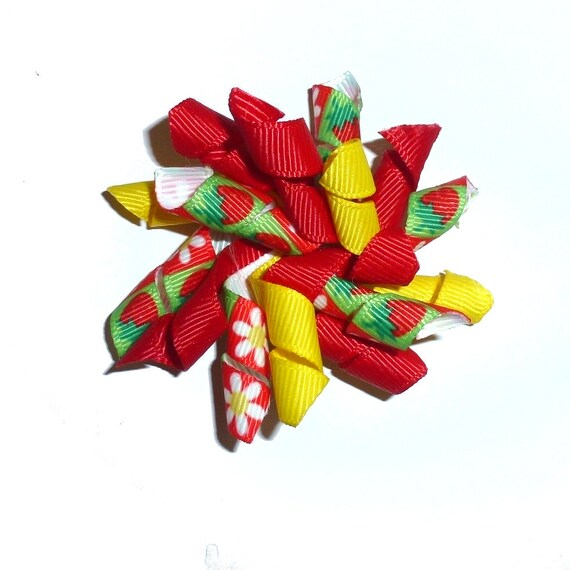 Puppy Bows Summer strawberries and daisies red yellow Korker loop  dog bow  pet hair clip barrette or latex bands corky curly corker