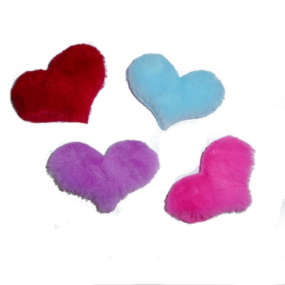 Puppy Dog Bows ~ Sweet fuzzy fluffy puffy furry hearts FOUR COLOR CHOICES! pet hair bow barrettes or bands (fb131)