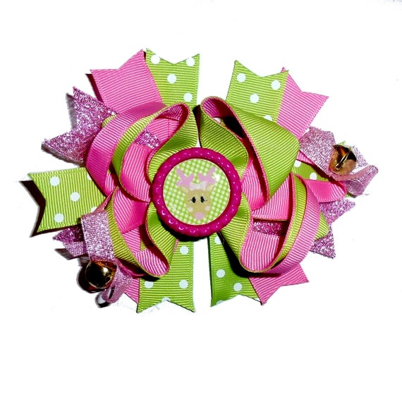 Puppy Bows ~ Dog collar slide bow jingle bells Christmas Clarice Rudolph reindeer pink/green  accessory  (DC13)