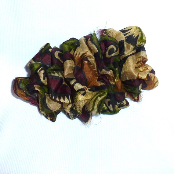 Becky Bows ~ OOAK ladies  Hand crafted SILK shabby chic  BIG fashion hair bow for ladies or Girls giant brown green