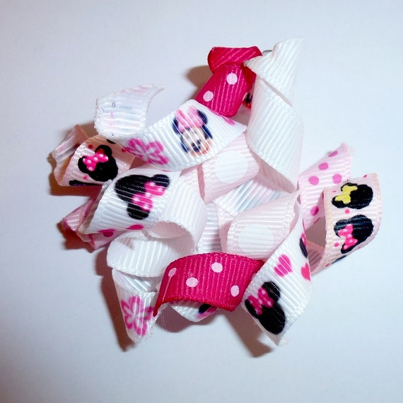 Puppy Bows pink minnie mouse Korker loop  dog bow  pet hair clip barrette or latex bands corky curly corker