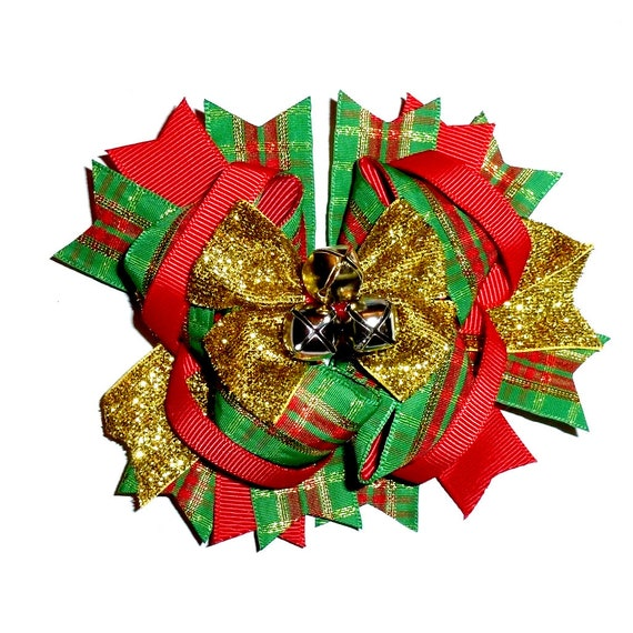 Puppy Bows ~ Dog collar slide bow Christmas jingle bells plaid gold red/green accessory  (DC14)
