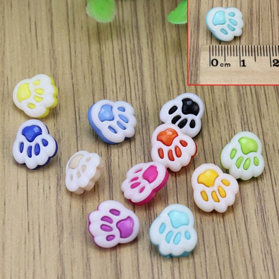 Puppy Bows ~ craft supplies 25 dog paw print buttons multi colored with shank
