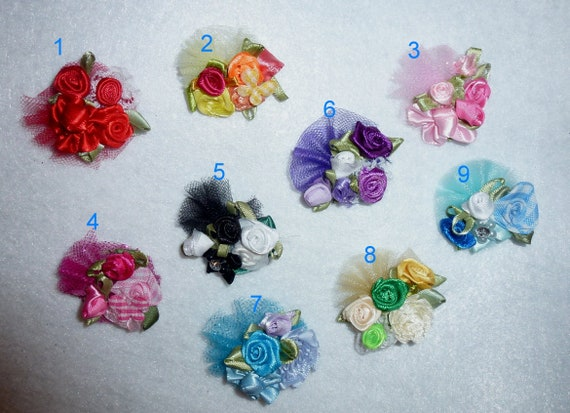 Puppy Bows ~ Small GIRLY BOW flower pet hair barrette bands clip roses ~USA seller (fb55)