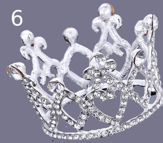 Puppy Bows ~ LOVELY 3D silver full round tiara for dogs pet hair crown beauty pageant style barrette (fbF6)