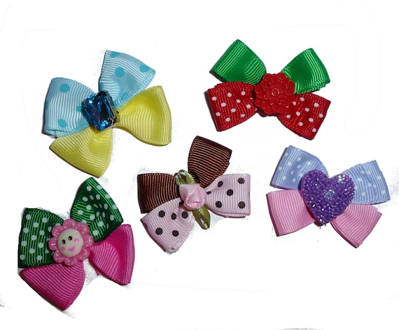 Puppy Bows ~ Set of 5 polka dot flower bows barrette bow hair clips for pets ~USA seller (fb160)