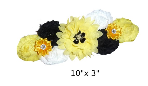 Puppy Bows ~ Extra long dog collar slide  accessory yellow flowers pearls black  ~USA seller (P2)