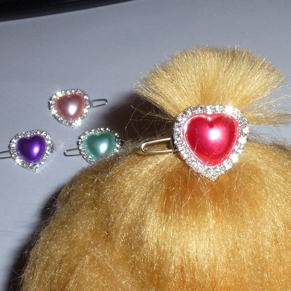 "Puppy Bows ~ TINY 3/4"" rhinestone pearl heart crystal crown dog bow  pet hair clip topknot barrette 4 colors!! (rb81)"