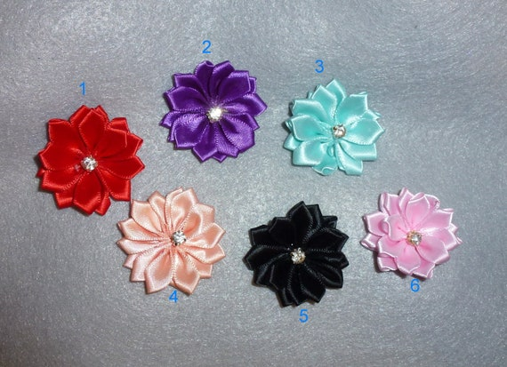 Puppy Dog Bows ~ pink more colors double layer petal ROSE pet hair bow barrettes or bands (fb69)