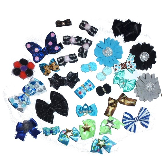 30 fancy bows for boys dog grooming pet hair bows with latex band   (fb168)