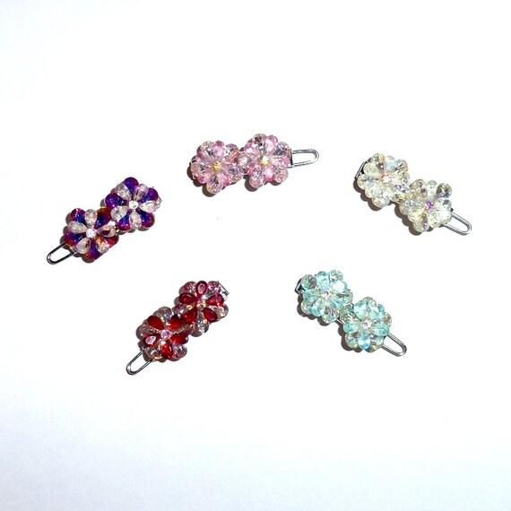 "Dog Bows flower crystal multi level 3D petals rhinestone  tiny  3/4"" pet hair barrette clip (TB6)"