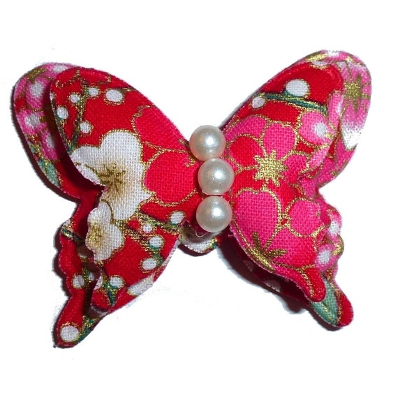 Puppy Bows ~ Red pink Japanese cherry blossom butterfly pet hair bow  - (fb254)