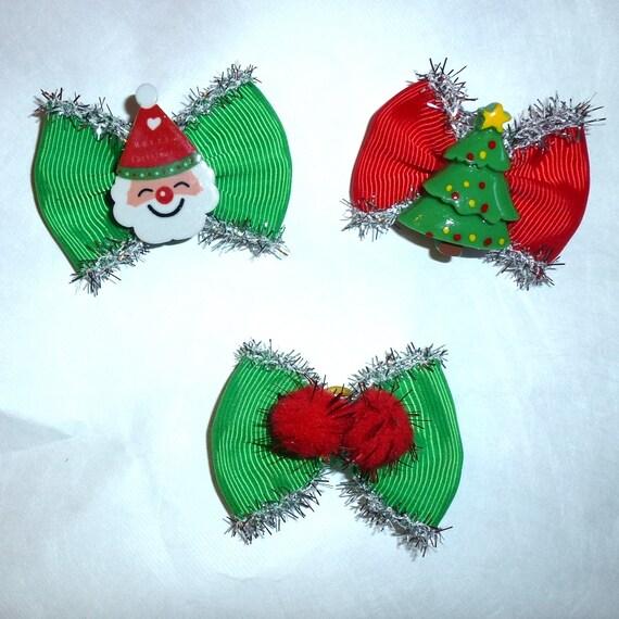 Christmas tinsel santa claus tree everyday dog groomers grooming pet hair bows (fb330)