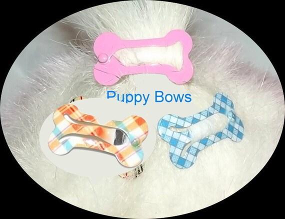 Puppy Bows ~NEW LOWER PRICE! Barrette snap clip dog bone shape bow Maltese ~Usa seller