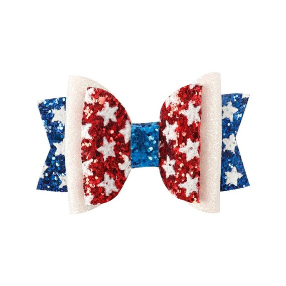Puppy Dog Bows ~ 4th of July red white glitter stars patriotic pet hair bow collar slide accessory barrette (DC9)