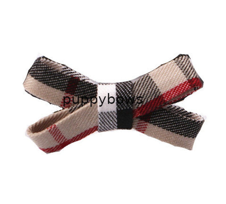 fb104a Puppy Dog Bows ~ The PAWBERRY B bowknot or criss cross shape pet hair bow barrettes or bands