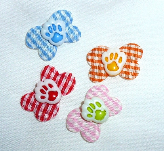 Puppy Bows ~ dog hair TINY pet snap clip heart end dog bones paw print centers (fb43A)