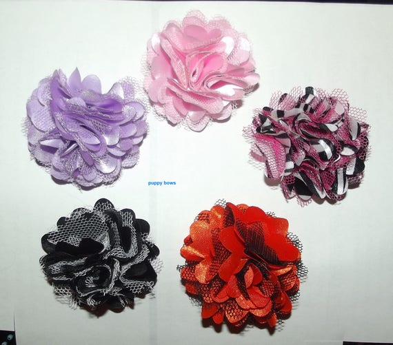 Puppy Bows ~ ballerina roses tulle satin flowers 5 colors grooming bow pet hair barrette  (fb68)