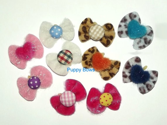 Posh Puppy Dog Bows ~ Fuzzy leopard print pink brown blue boys or girls pet hair bow Shih Tzu topknot    (fb23)