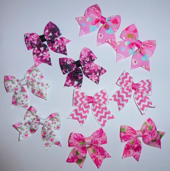 Puppy Bows ~ 10 dog bow for girls - pairs dog grooming pet hair bows - (218p)