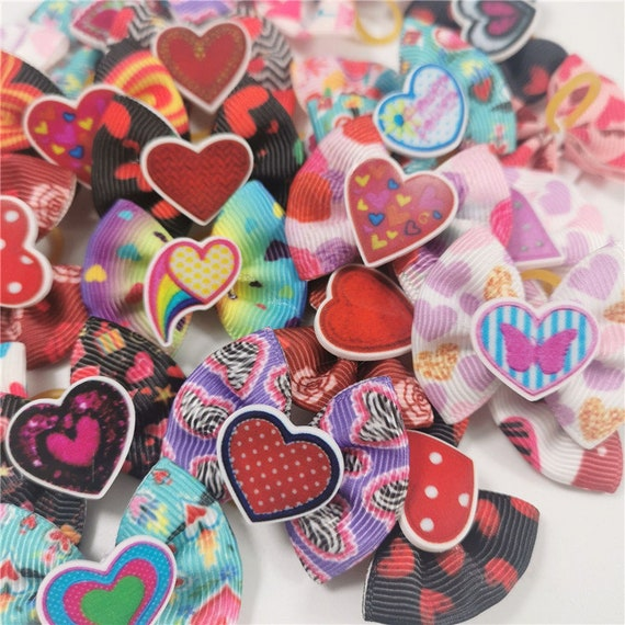 Valentine's day red pink hearts everyday dog groomers grooming pet hair bows (fb185)