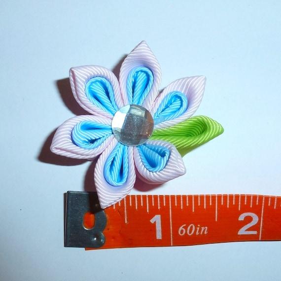 Puppy Bows ~  handmade pink/blue Japanese Kanzashi flower dog hair bow  (fb63)