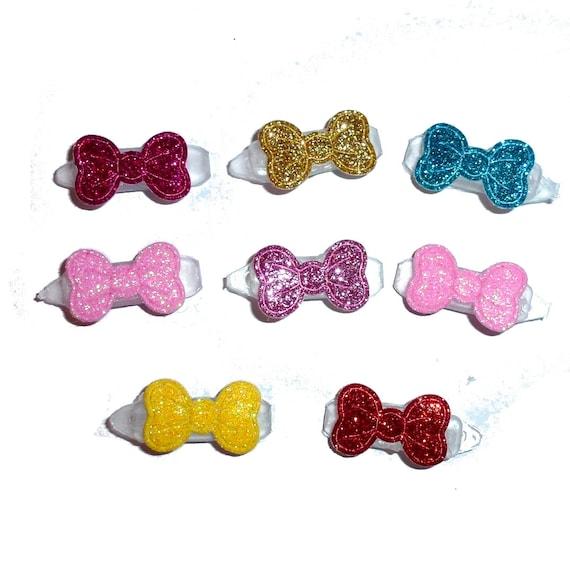 "8 Dog hair clip SUPER tiny  glitter bowknot 3/4"" wide pet hair barrette bow  (fb247)"