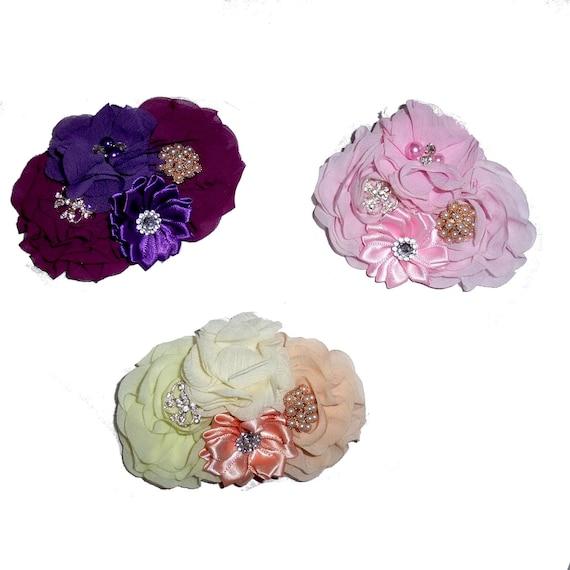 Dog collar flower slide accessory Purple Peach Pink rhinestone bow  (DC10)