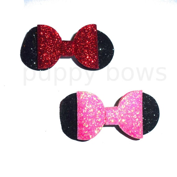 Puppy Bows ~ Pink or red Minnie glitter pet hair bow with plastic ball clip barrette  (fb212)