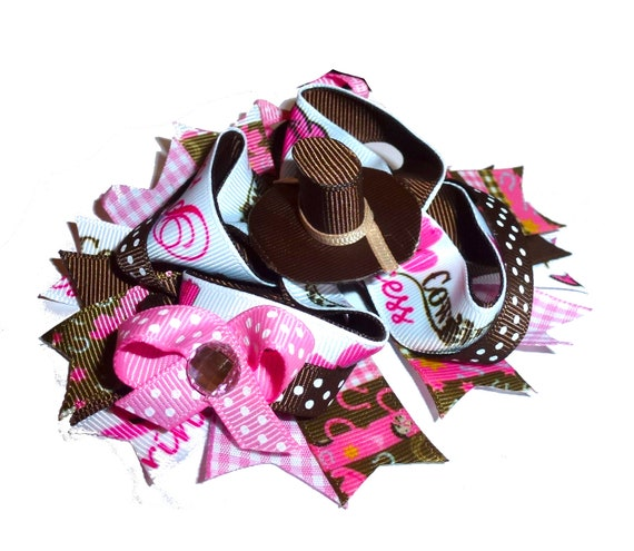Puppy Bows ~ Dog collar slide bow COWGIRL PRINCESS pink brown accessory  (DC16)