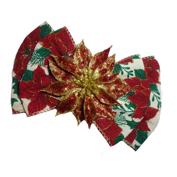 Becky Bows ~  Christmas red gold Poinsettia oversized Barrette Hand crafted  BIG hair bow Women or Girls