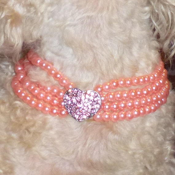 Puppy Bows ~Pink pearl rhinestone white pearl dog necklace collar jewelry ~USA seller