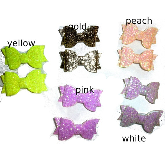 Puppy Bows ~ 2 small glitter pet hair bow with plastic ball clip barrette PAIRS (fb142)