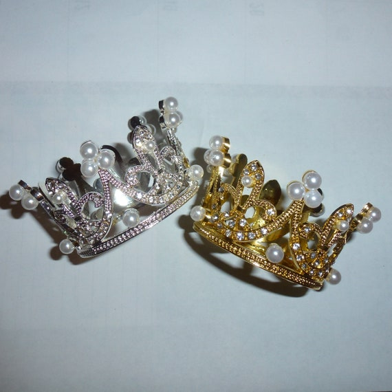 Puppy Bows ~ 3D silver or gold rhinestone tiara crown dog bow  pet hair clip barrette or neckstrap
