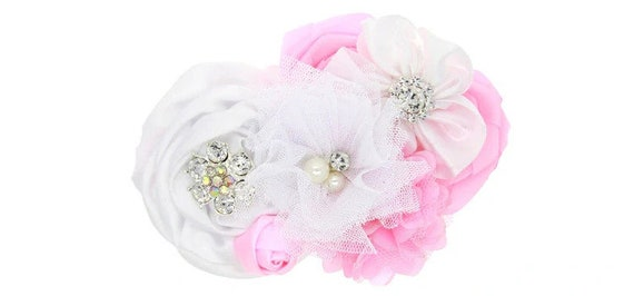 Puppy Bows ~ Dog collar slide bow large dog hair bows pink baby pink white rosettes  lace and rhinestones ~USA seller (dc7)