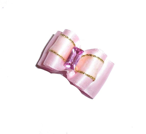 Puppy Dog Bows ~ Pink gold jewel center pet hair bow barrettes  (fb79)