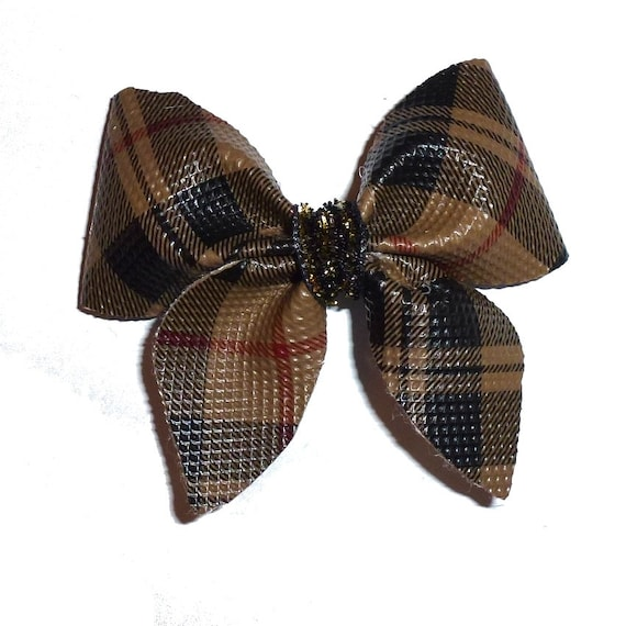 Puppy Bows ~  Brown black plaid  dog hair bow bands or clip