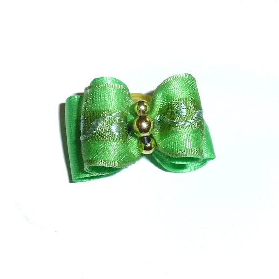 "Puppy bows ~ 7/8"" green organza pet hair show bow barrettes or bands (FB290a)"