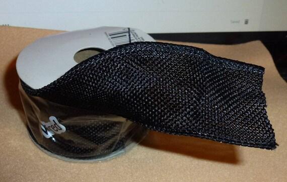"Puppy Bows ~  craft supplies black fabric mesh wired  ribbon 1.5"" x 4 yards (CS2)"
