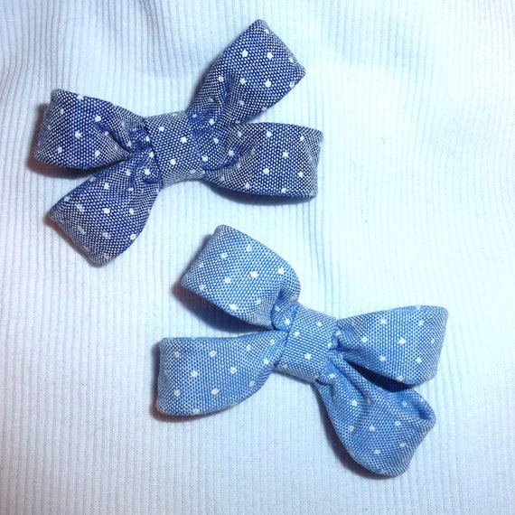 Puppy Bows ~Blue denim boys shape dog pet  hair bowknot bow bands or barrette (fb113)~USA seller