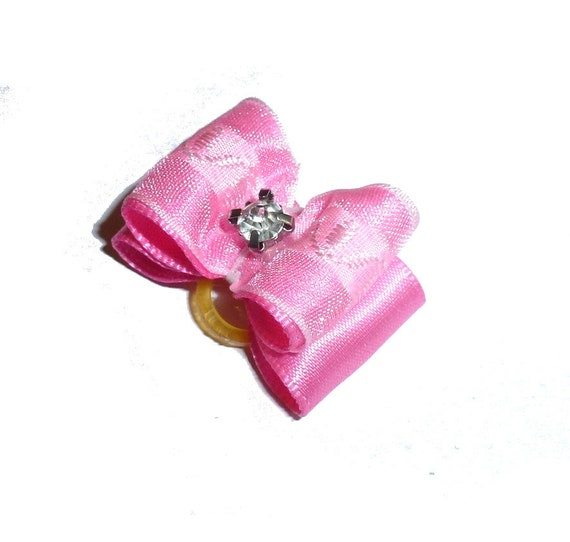 """Puppy Dog Bows ~ 7/8"""" pink white organza overlay pet hair show bow barrettes or bands (FB304)"""