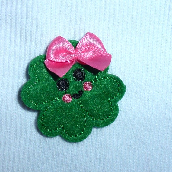 Puppy Bows ~ Clover 4 leaf heart dog bow  pet hair clip barrette or latex bands or collar slide (fb141)