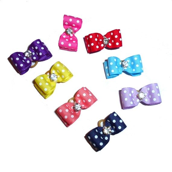 "Puppy Bows ~  Polka dot  rhinestone 5/8"" stiffened show pet hair bow  ~USA seller (FB257)"