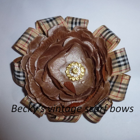 Puppy Bows ~ Dog collar slide flower bow accessory khaki brown tartan plaid pawberry ~USA seller (fb162)